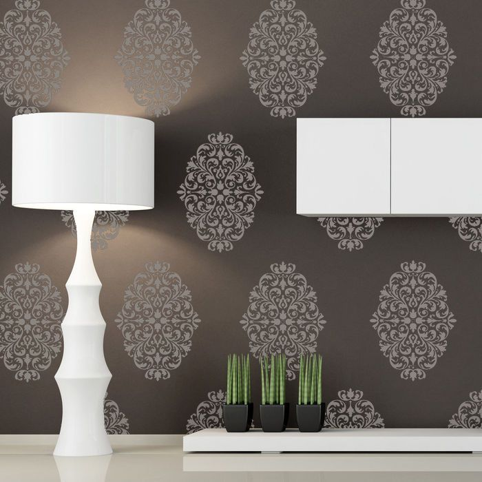 Wallpaper Wall Stencils : Damask wall stencils pattern large size reusable