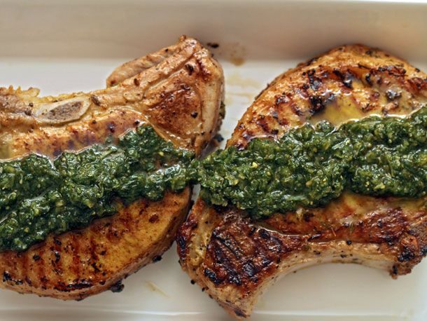 Dinner Tonight: Thyme-Rubbed Pork Chops with Pesto   Recipe