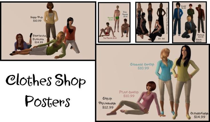 clothes shop posters ts2 decor pinterest. Black Bedroom Furniture Sets. Home Design Ideas