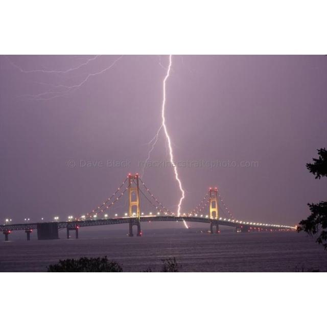 Lightening strike over Mackinac Bridge....