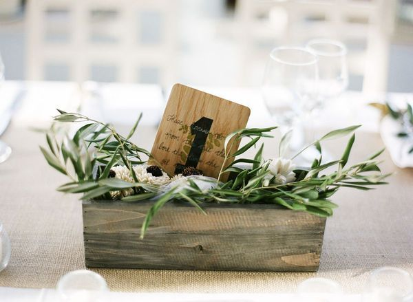 Olive Branches /Wood box centerpiece