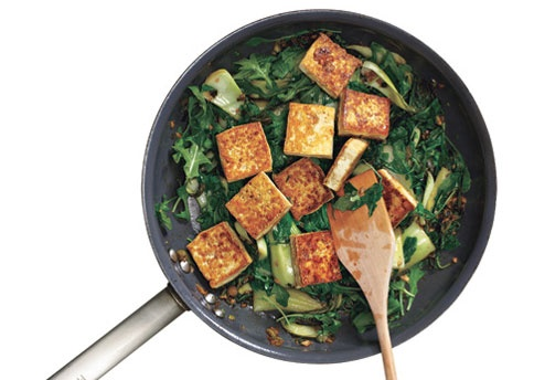 Stir-Fried Bok Choy and Mizuna with Tofu | fit | Pinterest
