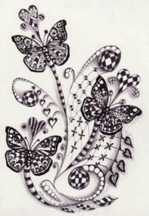 Pinned by MahaZentangles Butterfly