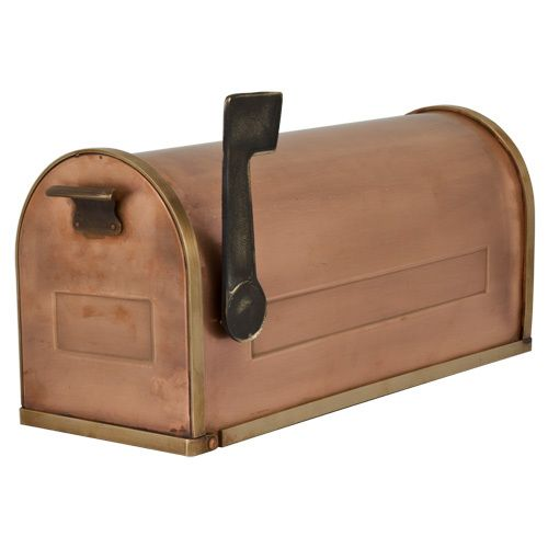 Old fashioned post mount copper mailbox with brass accents for What to do with old mailbox