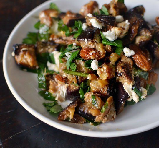 recipe roasted eggplant salad with smoked almonds amp goat cheese