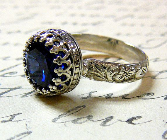 Vintage Engagement Sterling Silver Created Sapphire Ring with Tiara C ...