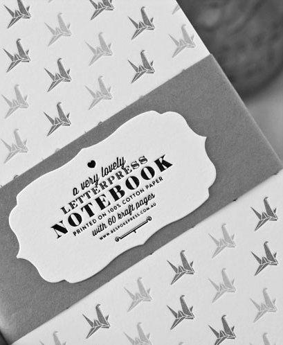 * letterpress notebook origami swan