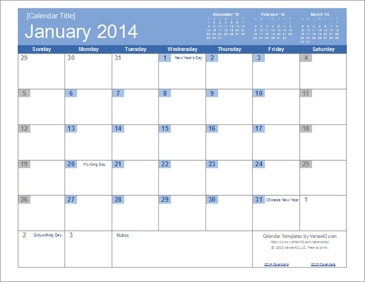 An easy to edit 2014 calendar template for excel for Templates by vertex42 com