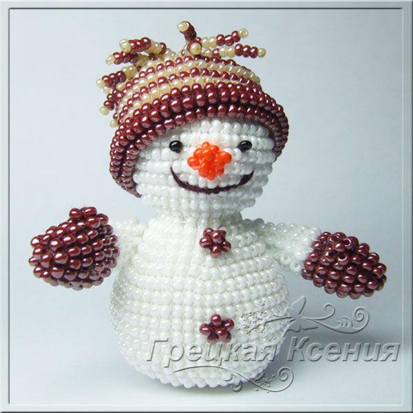 Снеговик Василий от Ксении Грецкой Snowman Объёмные игрушки из бисера Pinterest Snehulak a Navody