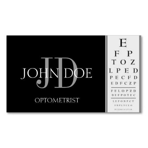 Optometrist chart black business cards eye doctor for Optometrist business card