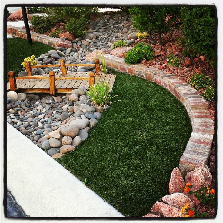 bridge and dry river bed Front and back yard ideas