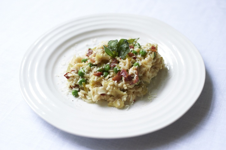 Bacon, Leek and Pea Risotto. Photographed by Thomas Baker Photography.