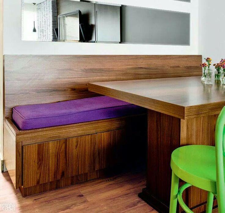 Banco Baú Sala De Jantar ~ Mesa de jantar  banco fixo  Decoração  Pinterest