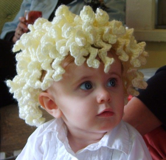 Curly Blond Crochet Hair Hat Crochet Babies & Little Ones Pinter...