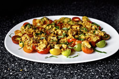 Smitten Kitchen Tomato Salad with crushed croutons.