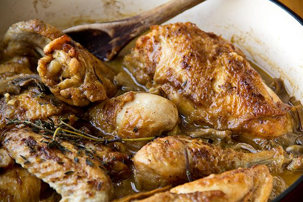 Braised Chicken in Porcini Wine Sauce over Buttered Pappardelle ...
