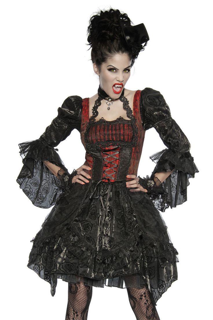 Robe Gothique Rouge Et Noir Déguisement de Vampires Femme Halloween ...