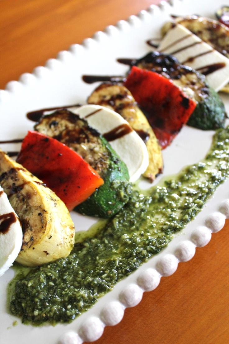 grilled summer squash caprese salad with garden fresh basil pesto