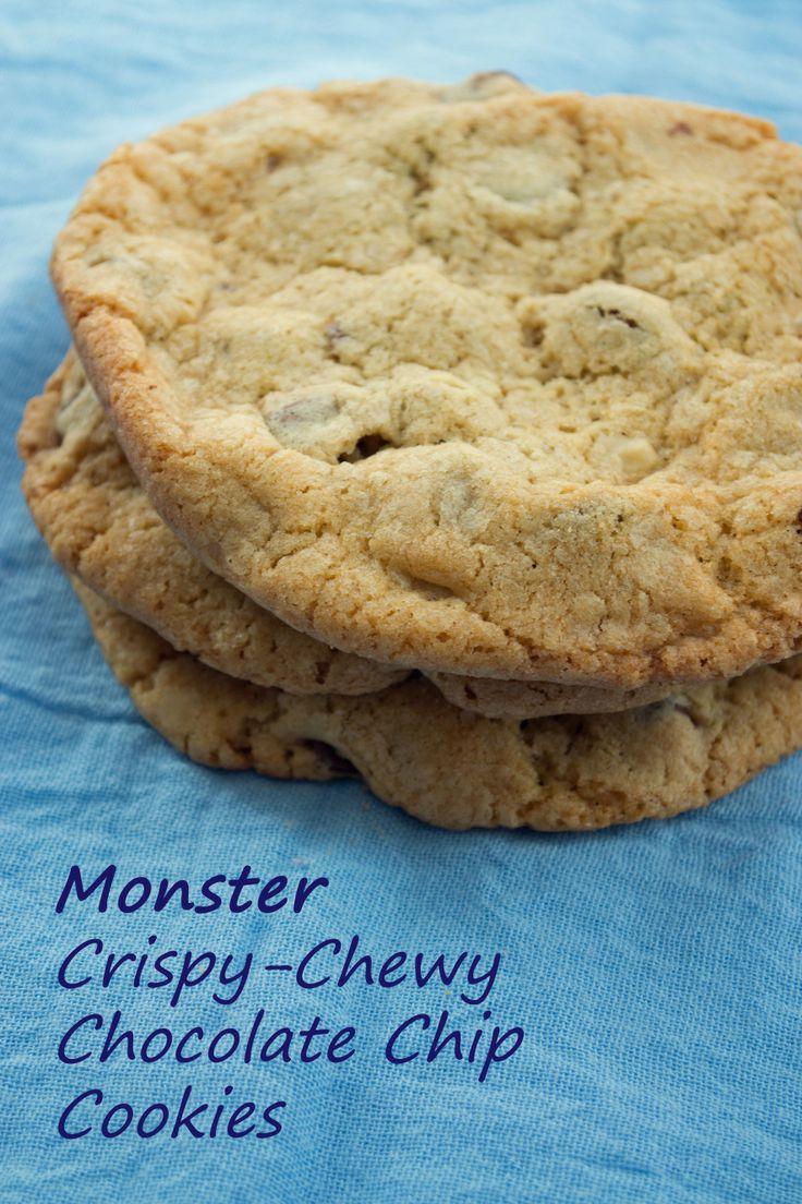 monster crispy chewy choco chip cookies | suziesweettooth.com | Pinte ...