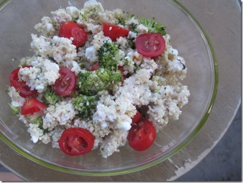 broccoli basil couscous (with or w/o meat) via meals & moves
