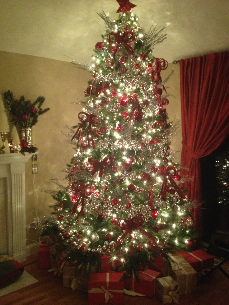 Red And Silver Grand Christmas Tree Christmas Pinterest