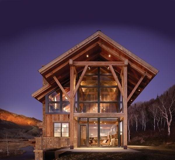 Rustic modern cabin homeandgarden log house pinterest for Modern log cabin homes