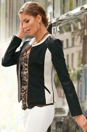Colorblock faux leather jacket #ErniesPicks #BostonProper