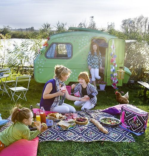 and with a vintage caravan!