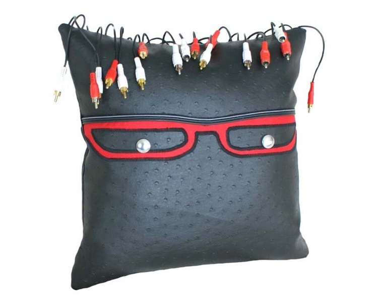 Unique Geek Pillow, Glasses and Funky Dreadlocks, Eco Friendly, Repurposed Industrial, Black Faux Leather Cushion, Dorm Decor, Unusual Gift. Huggable, Giant iPod Pillow pinned by @wickerparadise #wickerparadise #pillow #unique #fun
