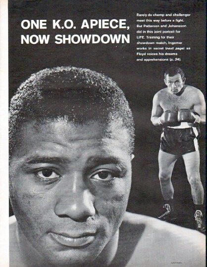 "Description: 1961 FLOYD PATTERSON AND INGEMAR JOHANSSON vintage magazine article ""One K.O. Apiece"" -- One K.O. Apiece, Now Showdown ... Ex-Playboy in Secret, Serious Grind ... 'I won't have to be vicious this time' -- Size: The dimensions of each page of the four-page article are approximately 10.5 inches x 13.5 inches (26.75 cm x 34.25 cm). Condition: This original vintage four-page article is in Excellent Condition unless otherwise noted (minor edge tanning)."