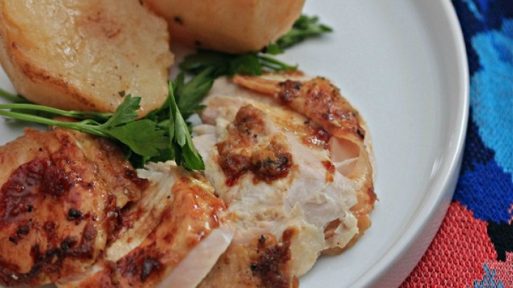 Blood Orange-Glazed Turkey Breast With Oven-Roasted Potatoes