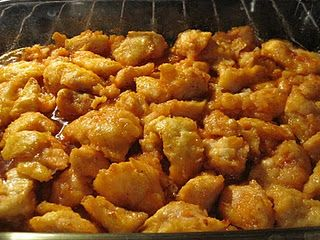 apparently this is so addicting (baked sweet and sour chicken). everyone loves it! 7 pts (probably less because you don't use all the corn starch and egg)  *one pinned says:**I HAVE MADE THIS THE LAST 2 NIGHTS FOR DINNER!! PROBABLY THE BEST THING I HAVE MADE OFF OF PINTEREST!**