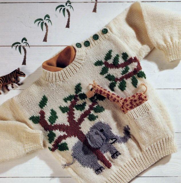 Knitting Jumpers For Elephants Fake : Vintage knitting pattern toddler s jungle elephant jumper