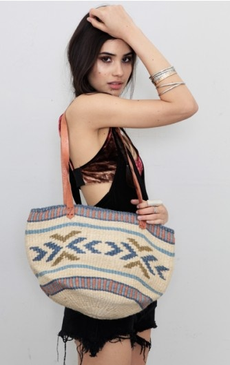 Treasure Blue Straw Bag with Leather Strap