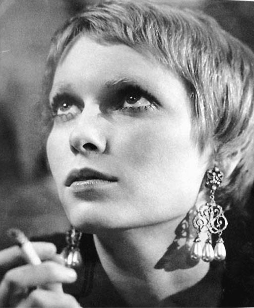 Mia Farrow smoking