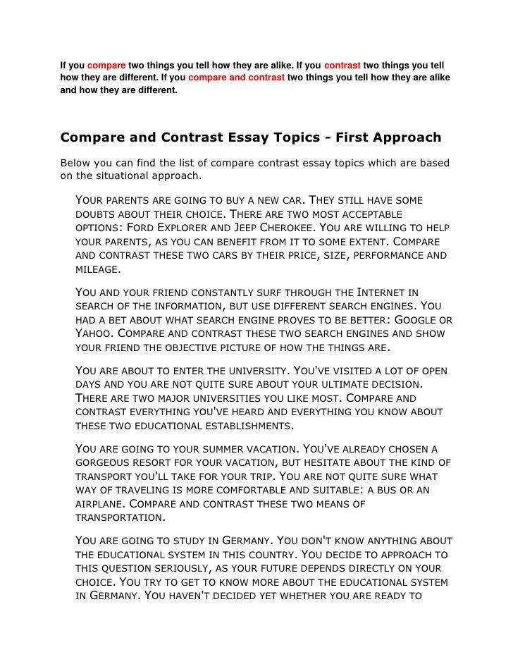 Buy compare contrast essay sample
