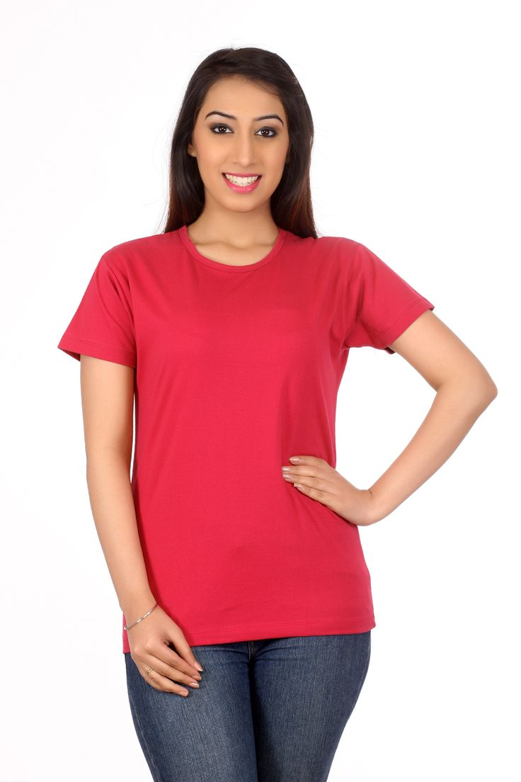 round neck T shirt in solid, in super combed cotton with short ...