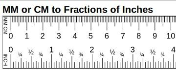 1 cm to inches fraction