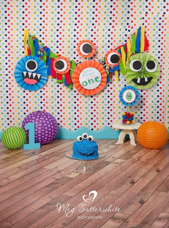 ... Little Monster Banner Decoration Birthday Party Backdrop Ban