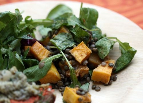 roasted squash, lentil and goat cheese salad. yummm