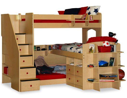 Best Dayton Triple Decker Twin Stairway Bed Kids New Bedroom 400 x 300