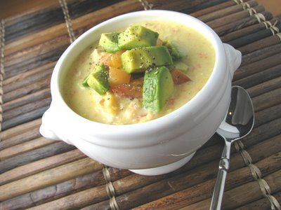 Chicken Corn Chowder Topped with Avocado and Tomato YUM! Anything with ...