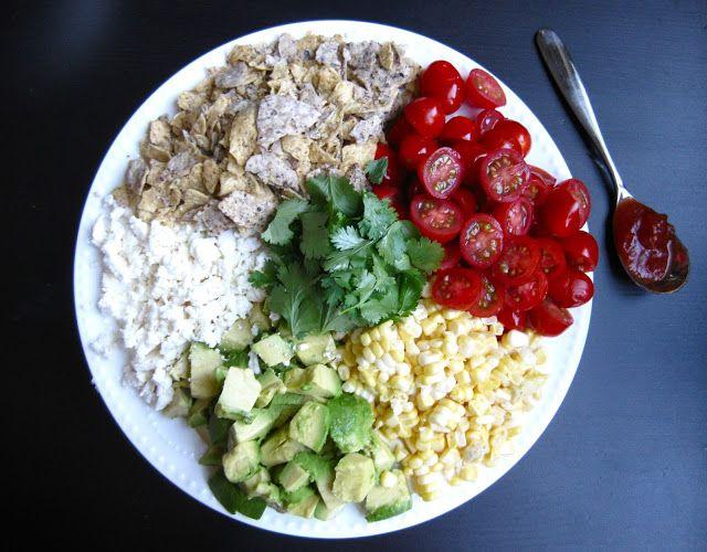Chopped Summer Salad with Fresh Corn, Avocado, Tomato, Feta & Tortilla ...