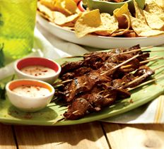 Steak Skewers With Scallion Dipping Sauce Recipe — Dishmaps