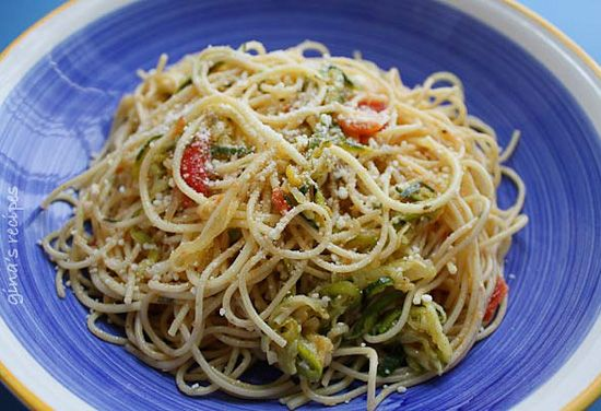 Angel Hair with Zucchini and Tomatoes- a great meatless meal that you'll be craving again and again!