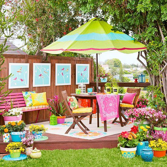 Colorful Backyard Makeover, via @Better Homes and Gardens