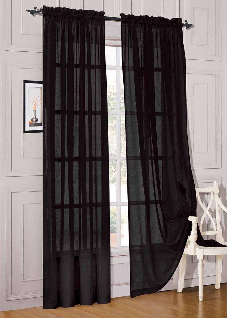 "Pcs. Sheer Voile Window Panel curtains DRAPE 63"" ,84"" ,95"" SCARF MA ..."