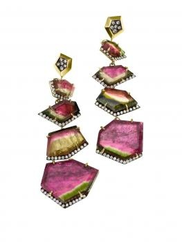 Jemma Wynne Limited Edition Tourmaline and Diamond Drop Earrings