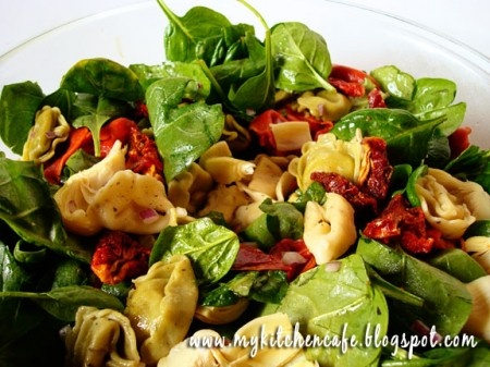 Tortellini Spinach Salad with Balsamic-Tomato Vinaigrette.