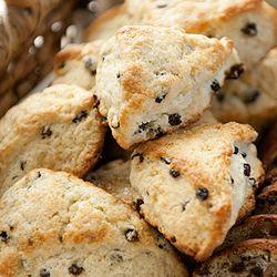 Black currant) Tender cream scones with black currants. Part of a ...